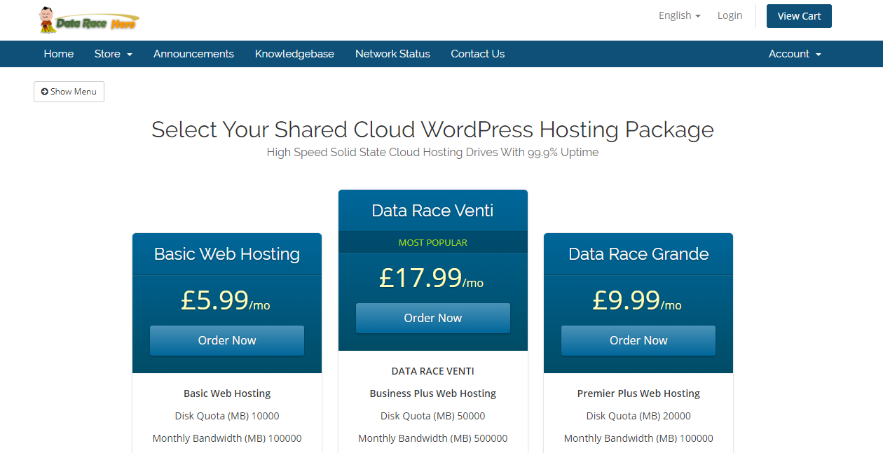 data race web hosting packages
